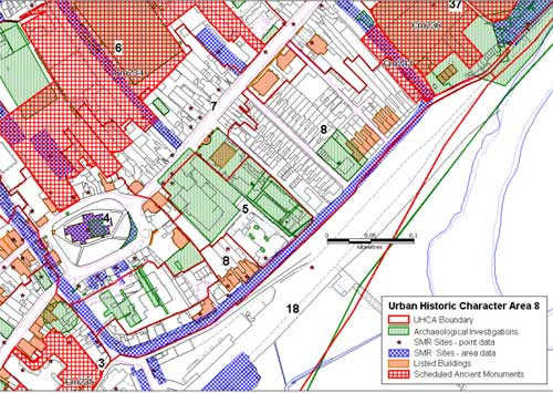 Urban Historic Character Areas within part of the Roman town defences.