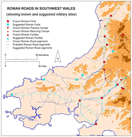 Map showing Roman roads in southwest Wales.